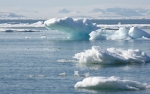Ice floes and Arctic backdrop